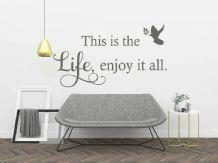 "Wall Quote ""This is the life, enjoy it all"" Sticker Modern Transfer Decal Decor"